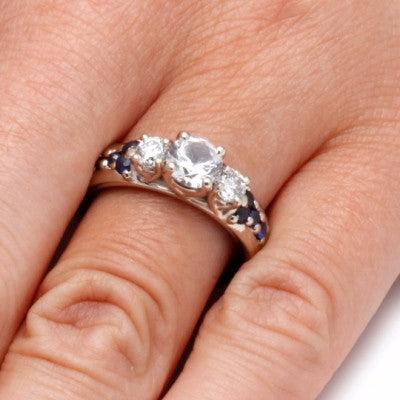 Moissanite Engagement Ring with Meteorite and Mokume Sleeve-2106 - Jewelry by Johan