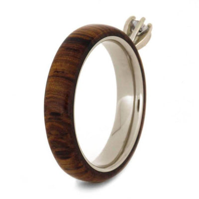 Rosewood & Diamond Engagement Ring with 14k White Gold-2060 - Jewelry by Johan
