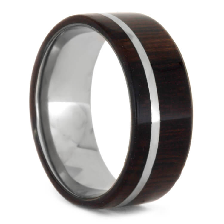 Dark Wood Wedding Band In Titanium With Pinstripe, Size 9.25-RS8692 - Jewelry by Johan