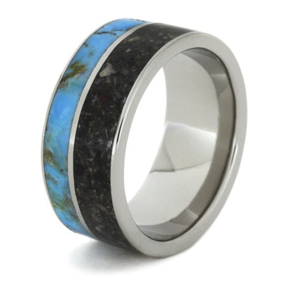 Pet Memorial Ring, Titanium Ring with Pet Ashes and Turquoise-1286 - Jewelry by Johan