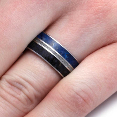 Titanium Ring with Antler, Dinosaur Bone and Lapis Lazuli-2936 - Jewelry by Johan