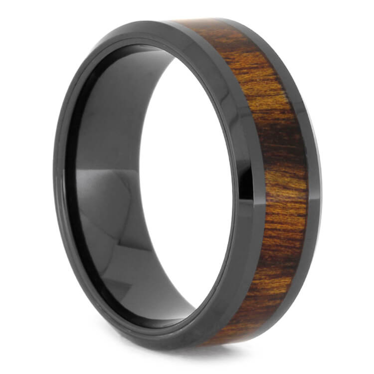 Caribbean Rosewood Ring In Beveled Black Ceramic, Size 10.5-RS9607 - Jewelry by Johan