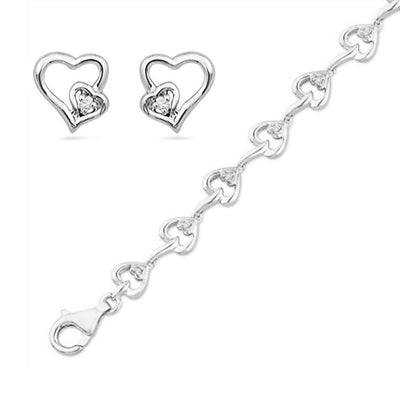 Sterling Silver Double Heart Earrings & Bracelet Gift Set-SHGS3002 - Jewelry by Johan