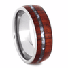Titanium Ring with Mother of Pearl and Wood Inlays