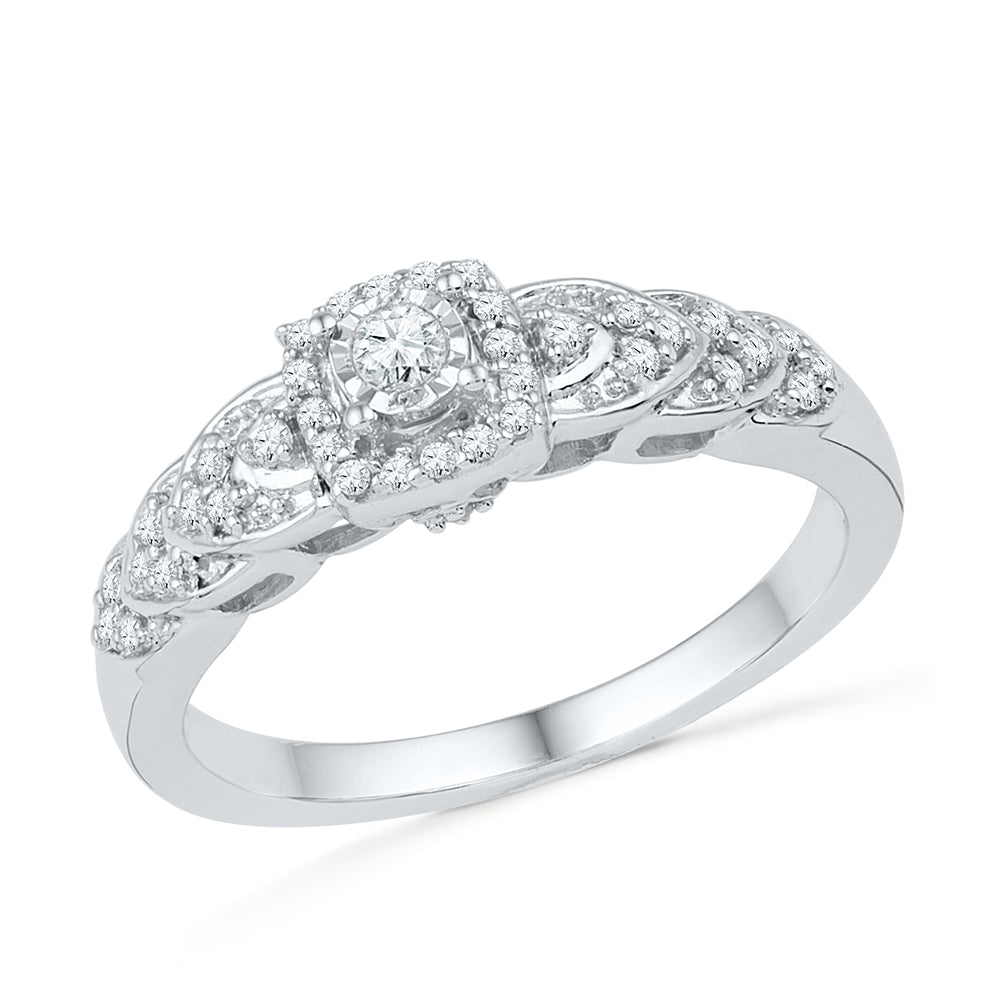 Halo Diamond Engagement Ring in Sterling Silver