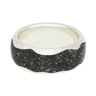 Black Stardust Ring With Wavy Pattern