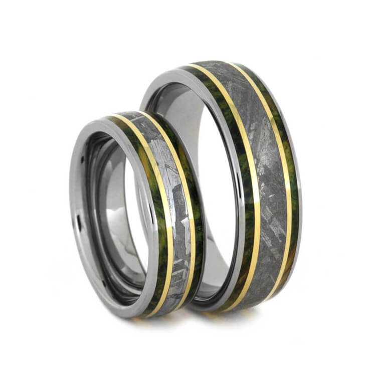 Meteorite Wedding Bands With Yellow Gold And Green Box Elder-3172 - Jewelry by Johan