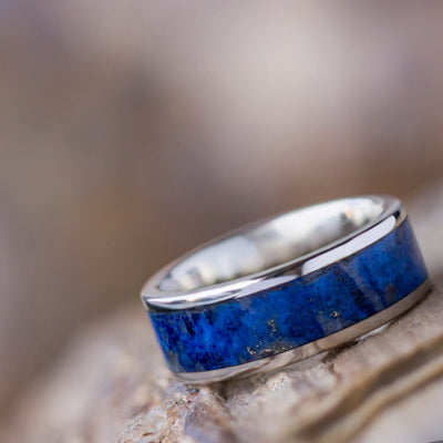 Men's Lapis Lazuli Wedding Band, Platinum Ring-2524 - Jewelry by Johan