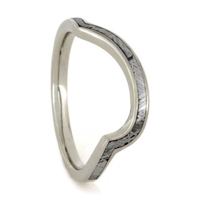 Custom Meteorite Wedding Band, 18k White Gold Ring-1766 - Jewelry by Johan