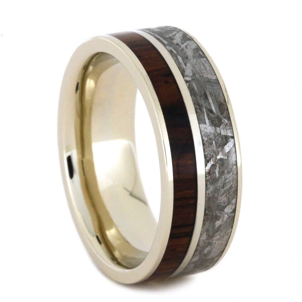 White Gold Men's Wedding Band with Kingwood and Meteorite