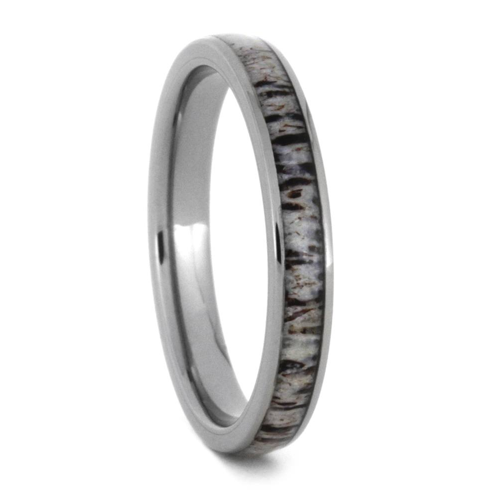 Women's Deer Antler Wedding Band In Titanium