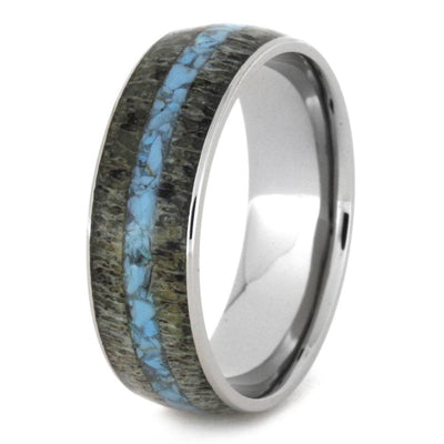 Deer Antler And Turquoise Ring In Titanium-3272 - Jewelry by Johan