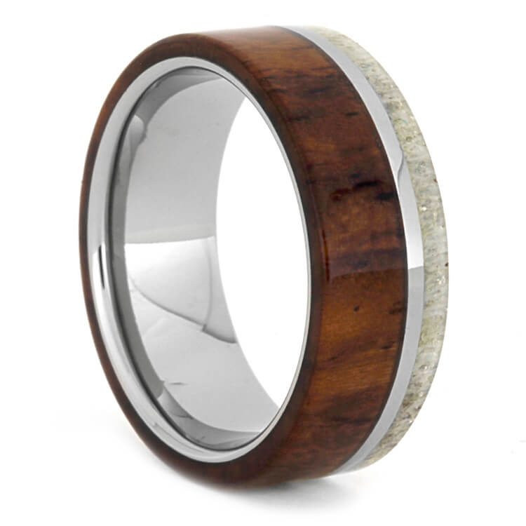 Naturally Shed Deer Antler And Honduran Rosewood Ring, Size 8-RS9398 - Jewelry by Johan