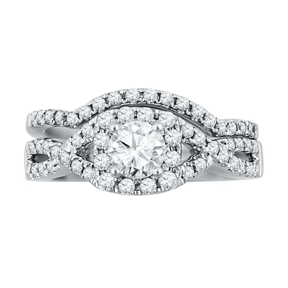 Sterling Silver Halo Diamond Ring Set-SHRB028463-SS - Jewelry by Johan