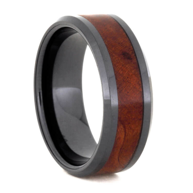 Black Ceramic Band With Ironwood Burl Inlay