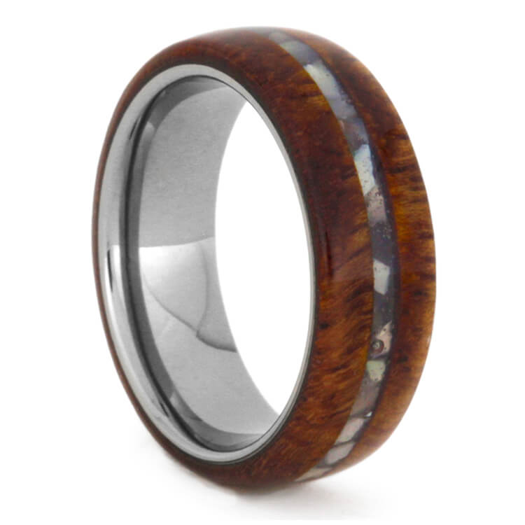Titanium Ring With Afzelia Wood And Mother Of Pearl