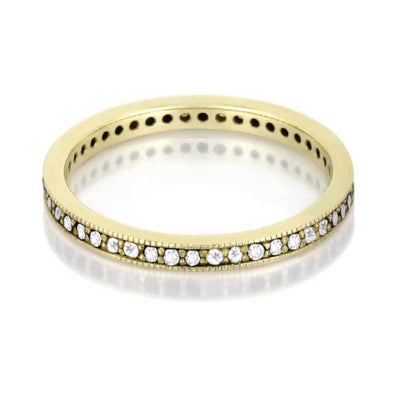 Diamond Eternity Ring Set, Unique Wood Bridal Set in Gold-DJS1004YG - Jewelry by Johan