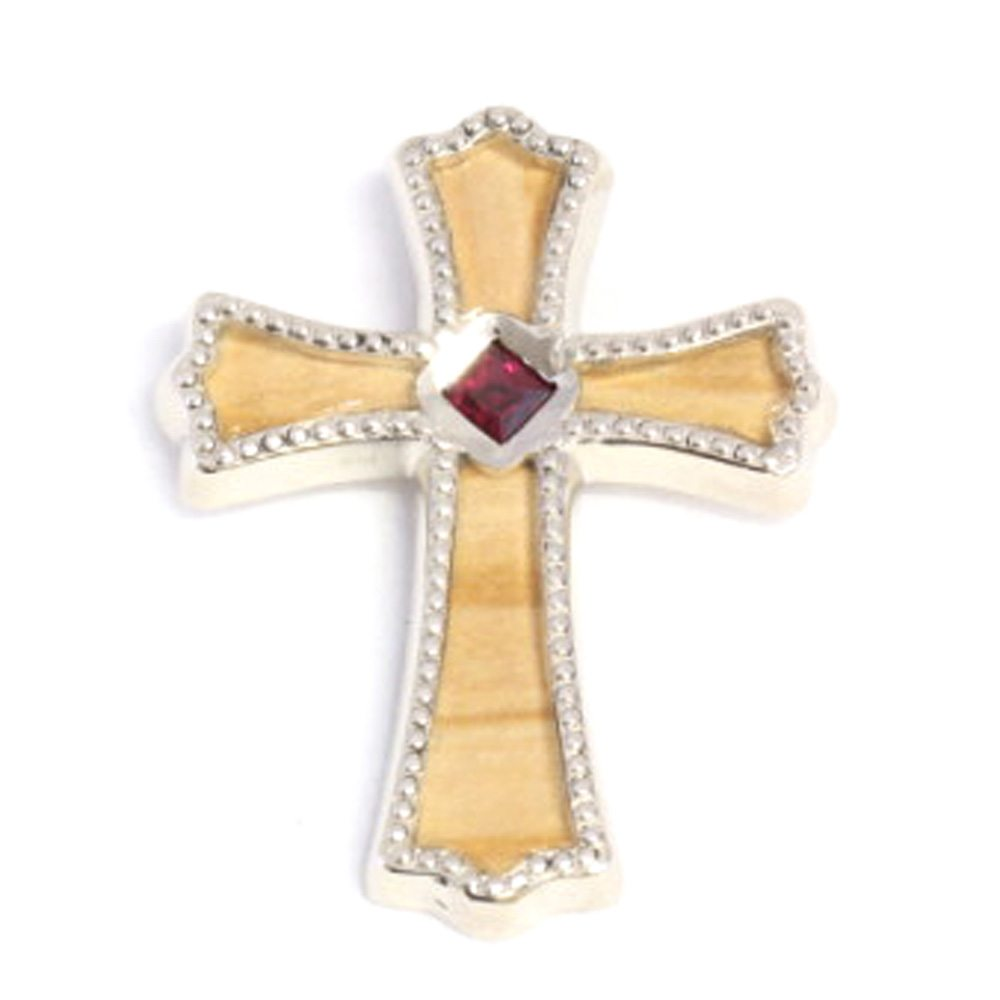 Cross Pendant with Bethlehem Olive Wood, 14K White Gold and Ruby-1500 - Jewelry by Johan