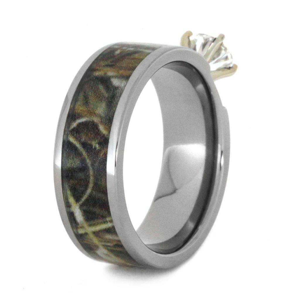 Camo Engagement Ring in Titanium with Solitaire Moissanite - Jewelry ...