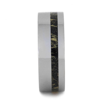 Tungsten Wedding Band with Black and Gold Composite Mokume Gane-2987 - Jewelry by Johan
