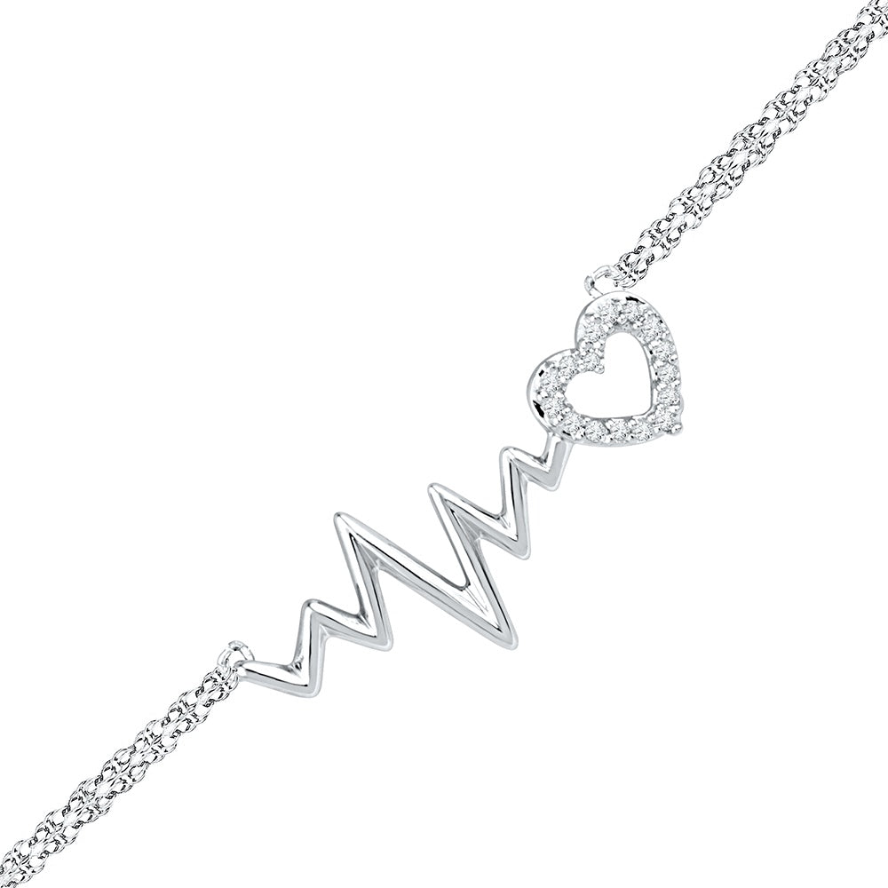 Diamond Heartbeat Bracelet, Silver or White Gold-SHBF019379ATW - Jewelry by Johan