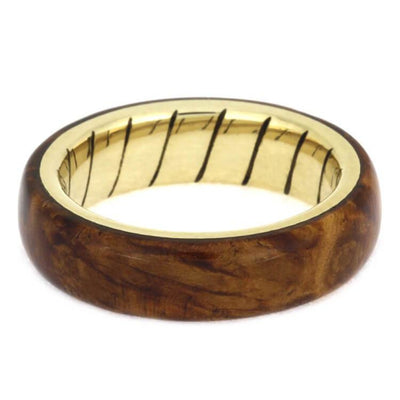Amboyna Wood Wedding Ring With A Unique Spiral 14k Yellow Gold Sleeve-2465 - Jewelry by Johan