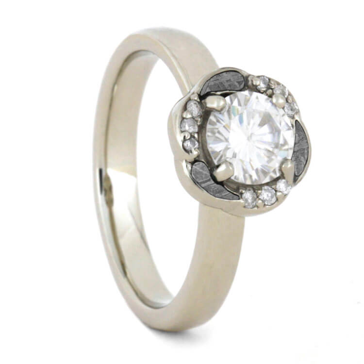 Engagement Ring, Moissanite In White Gold Ring, Meteorite Ring For Women-3376 - Jewelry by Johan