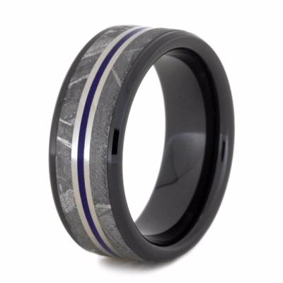 Meteorite Men's Wedding Band and Black Ceramic Ring-2204 - Jewelry by Johan