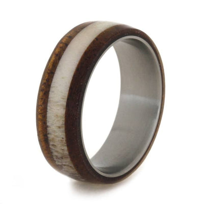 Mahogany Wood And Deer Antler Titanium Wedding Band-2001 - Jewelry by Johan