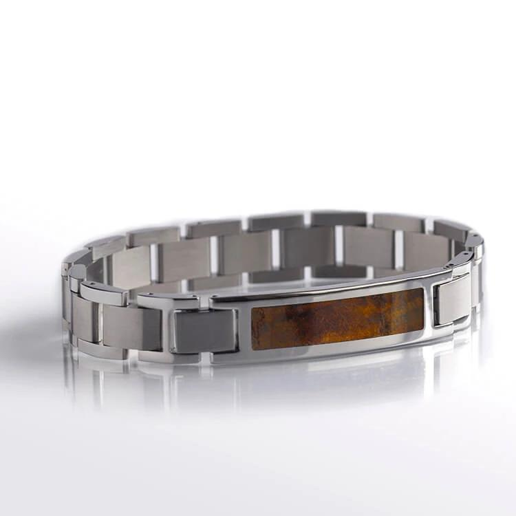 Chechen Burl Bracelet, Wood And Stainless Steel Bracelet Set-BR1005-2 - Jewelry by Johan