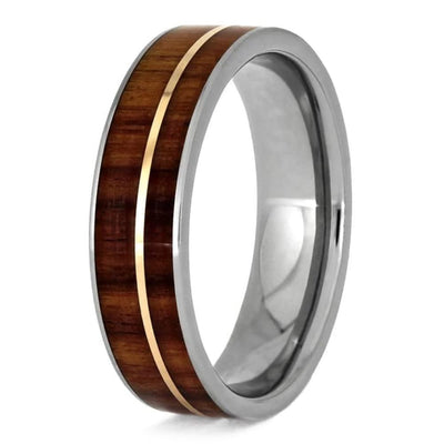 titanium wedding band with tulipwood