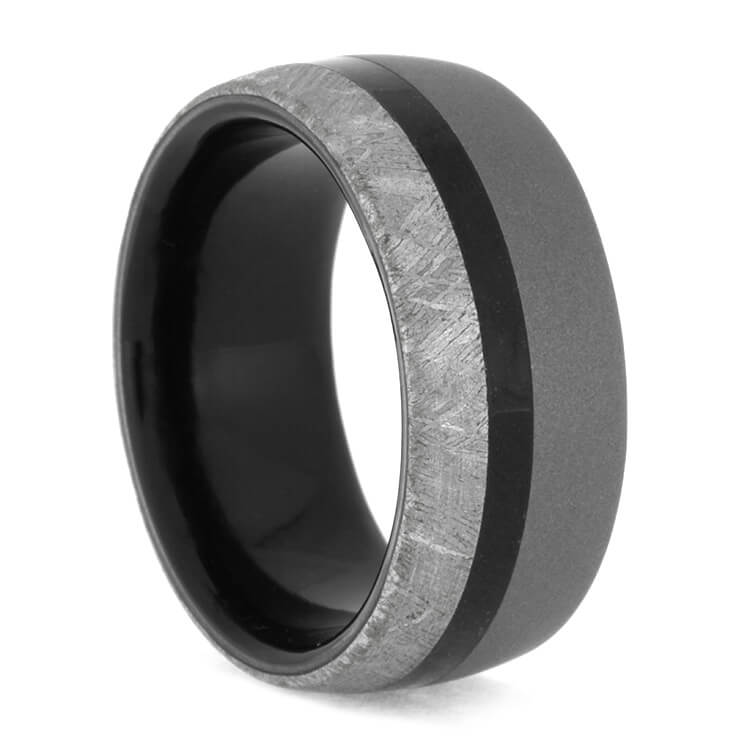 Sandblasted Titanium Ring With Black Wood And Meteorite, Size 10.5-RS10061 - Jewelry by Johan