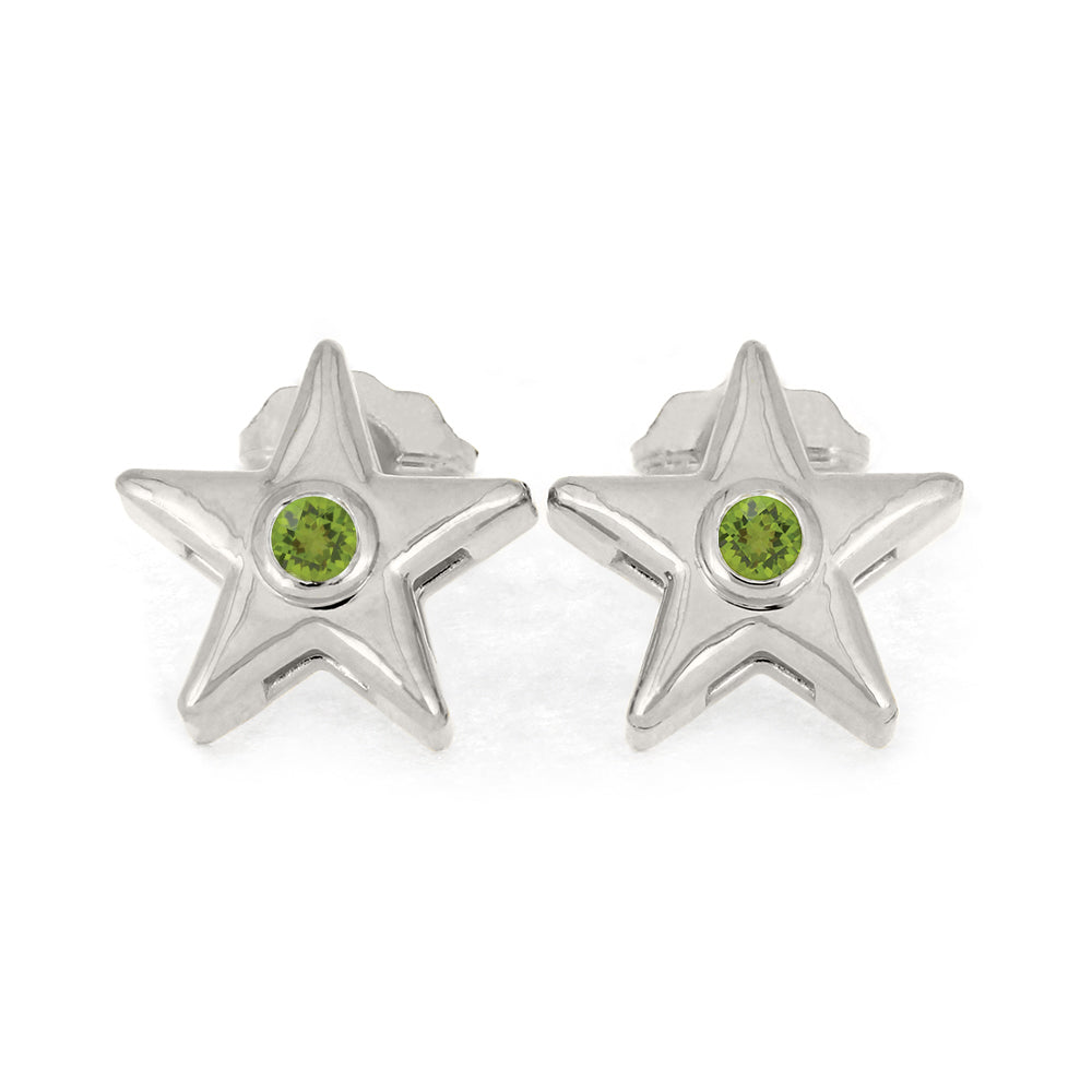 August Birthstone Gold Star Earrings with Peridot-4650PD - Jewelry by Johan