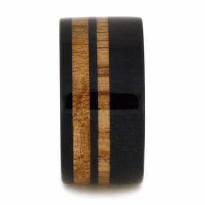 Black Wedding Band with Strips of Maple Wood
