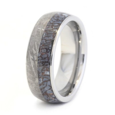 Tungsten Ring With Dinosaur Bone And Meteorite Inlay-2048 - Jewelry by Johan