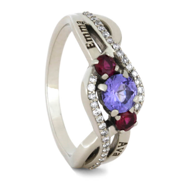 Tanzanite Engagement Ring With Ruby And Diamond Accents, White Gold-2308 - Jewelry by Johan