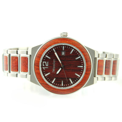 Mens Round Wood Watch with Steel Straps and Red Wood Watch Face-SW1016