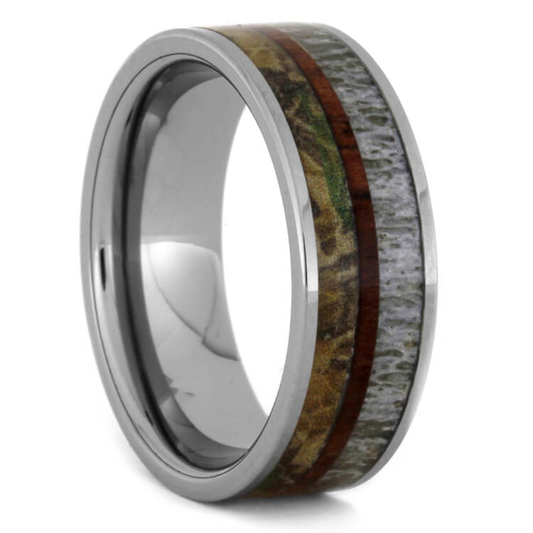 Tungsten Ring With Antler, King Wood And Camo Inlay, Size 9.75-RS9300 - Jewelry by Johan