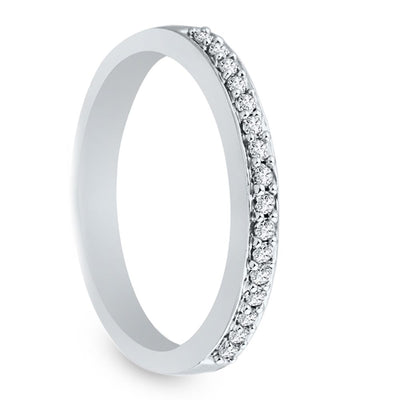 Half Eternity Diamond Wedding Band in Sterling Silver