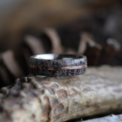Deer Antler Wedding Band With Rose Gold Pinstripe-2319 - Jewelry by Johan