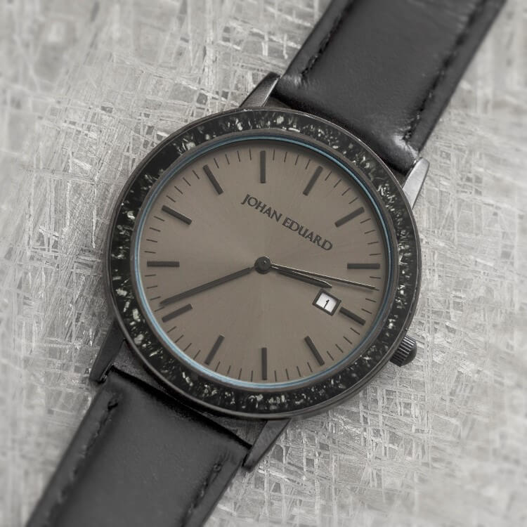 Black Stardust Matte Black Wristwatch With Leather Strap