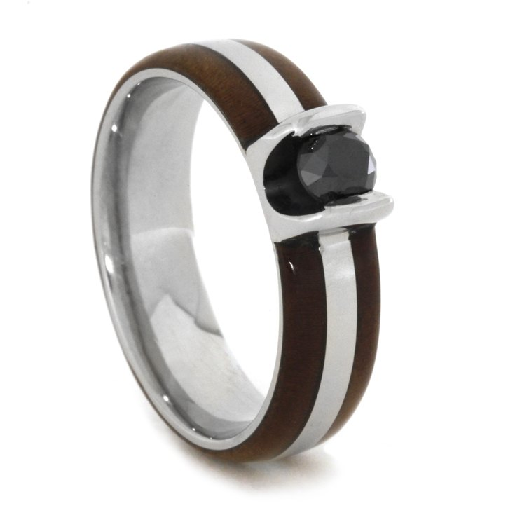 Black Diamond Engagement Ring In White Gold With Wood-1936 - Jewelry by Johan