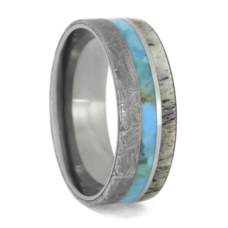 Turquoise, Antler and Meteorite Men's Wedding Band, Size 11-RS9622 - Jewelry by Johan