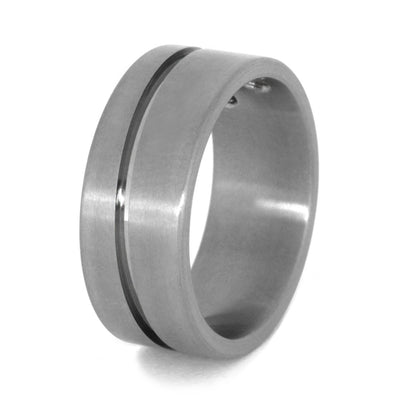 Double Diamond Ring in Grooved Titanium Wedding Band-3395 - Jewelry by Johan