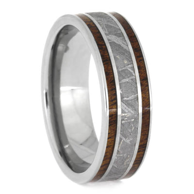 Gibeon Meteorite Wedding Ring Set, White Gold Halo Engagement Ring And Tulipwood Wedding Band-2408 - Jewelry by Johan