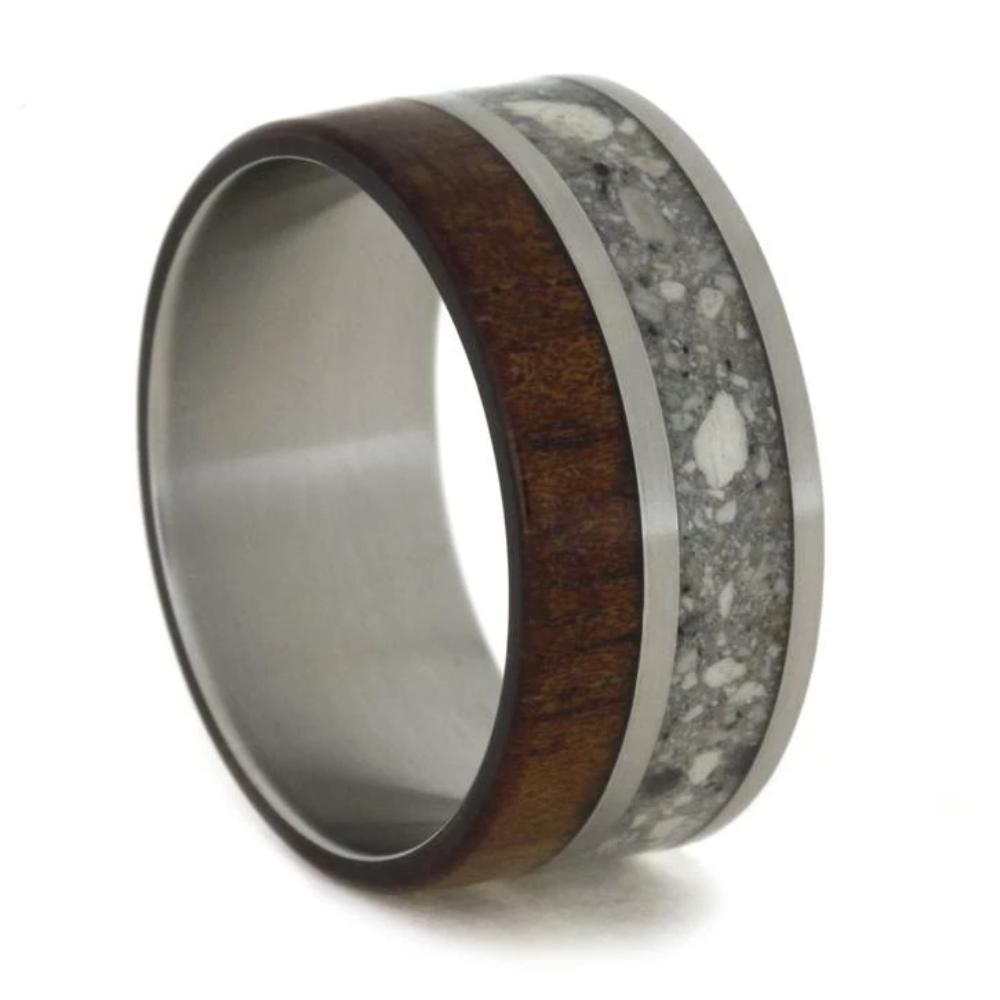 Titanium Memorial Ring With Ashes And Koa Wood-1773 - Jewelry by Johan