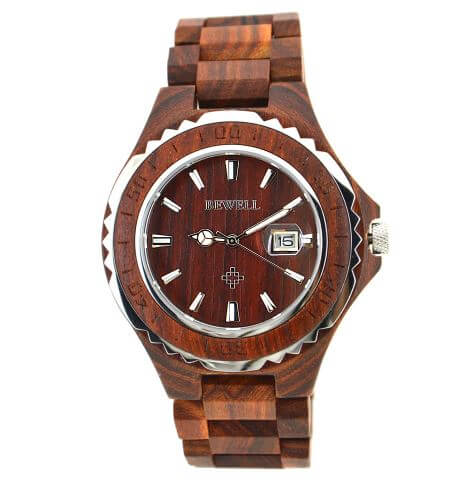 Men's Natural Wood Wrist Watch With Wavy Stainless Steel Profile