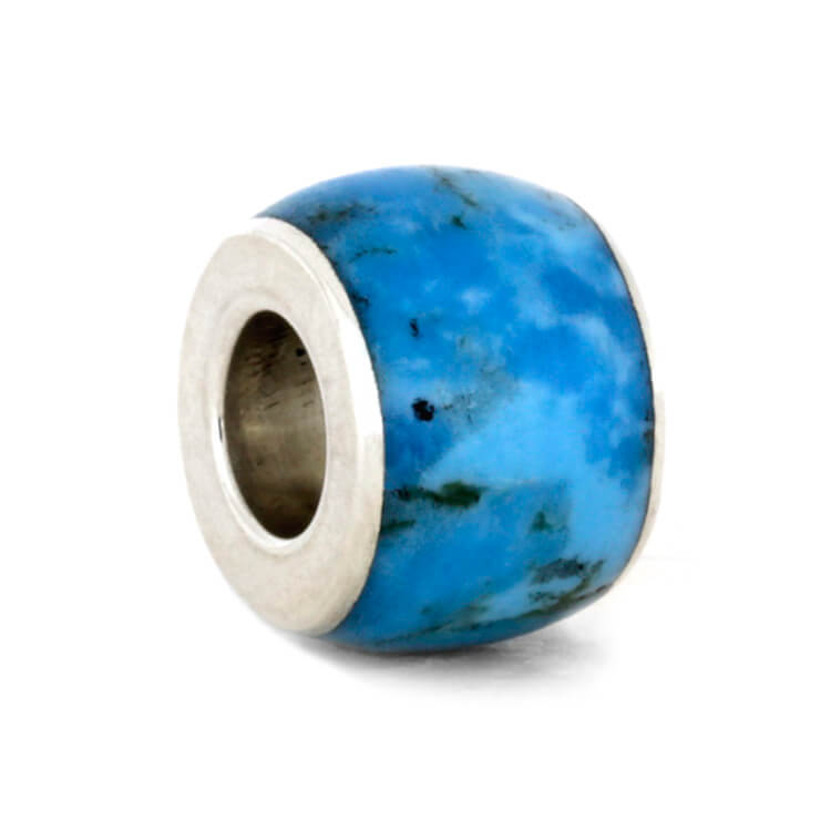 Large Turquoise Charm Bead in Sterling Silver, In Stock-RS10328 - Jewelry by Johan