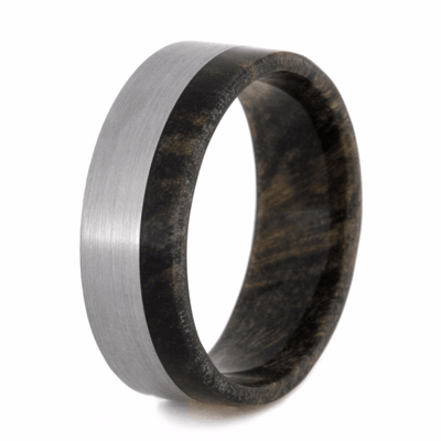 titanium wedding band with buckeye burl wood sleeve