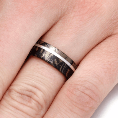 14k White Gold Composite Mokume Gane Ring-2243 - Jewelry by Johan